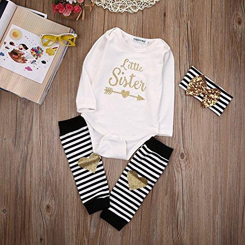 f7e57a916 Rompers – Newborn Baby Girls Romper Tops + Headband+Leg Warmer 3PCS Outfits  Set Clothes (Label 70 / Age 0-6mos.)