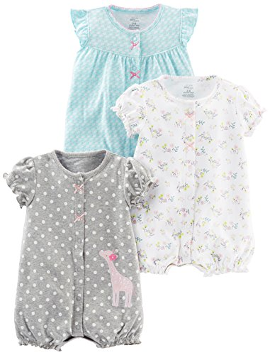 5479760be Rompers – Simple Joys by Carter's Baby Girls' 3-Pack Snap-up Rompers, Blue  Swan/White Floral/Gray Dot, 0-3 Months Offers