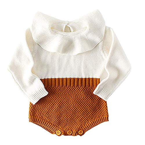 Askwind Baby Girls Romper Knitted Ruffle Long Sleeve Jumpsuit Baby Kids Girl Romper Autumn Winter Casual Clothing