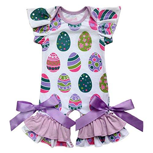 9cccc150e9 Rompers – IBTOM CASTLE Newborn Baby Girls Ruffle Romper Jumpsuit Long  Sleeve Valentine s Day Love Heart Easter Egg Print Bodysuit Pajama Outfit   2 Lavender ...