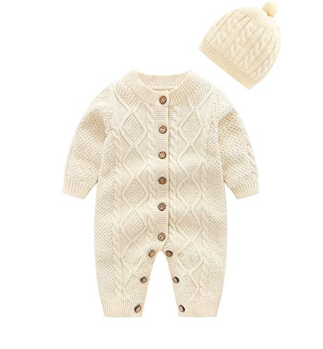 f90826d0910 Rompers – JooNeng Baby Newborn Cotton Knitted Sweater Romper Longsleeve  Outfit with Warm Hat Set