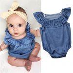 Baby Girls Infant Toddler Floral Romper Jumpsuit+Headband Outfit Cuekondy Summer Sleeveless Bodysuit Playsuit Sunsuit Black, 6M