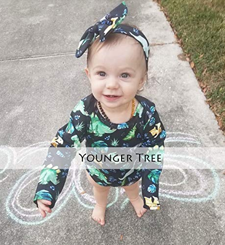 4716d7fd9 Rompers – YOUNGER TREE Infant Baby Girl Dinosaur Plant Romper Long Sleeve  Cartoon Print Onesies with Headband 2Pcs Outfits Clothes (Green, 6-12  Months) ...